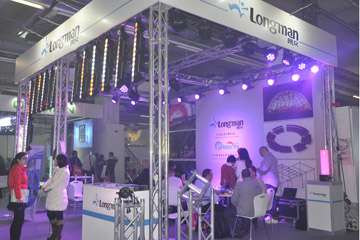 longman at Frankfurt exhibition:etc source 4 fresnel, stage lighting bar, blinder lights, par lighting, moving head spot, wall washing