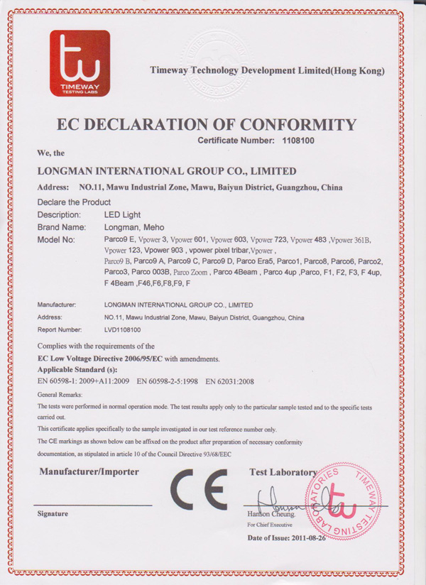 EC declaration of conformity 1108100