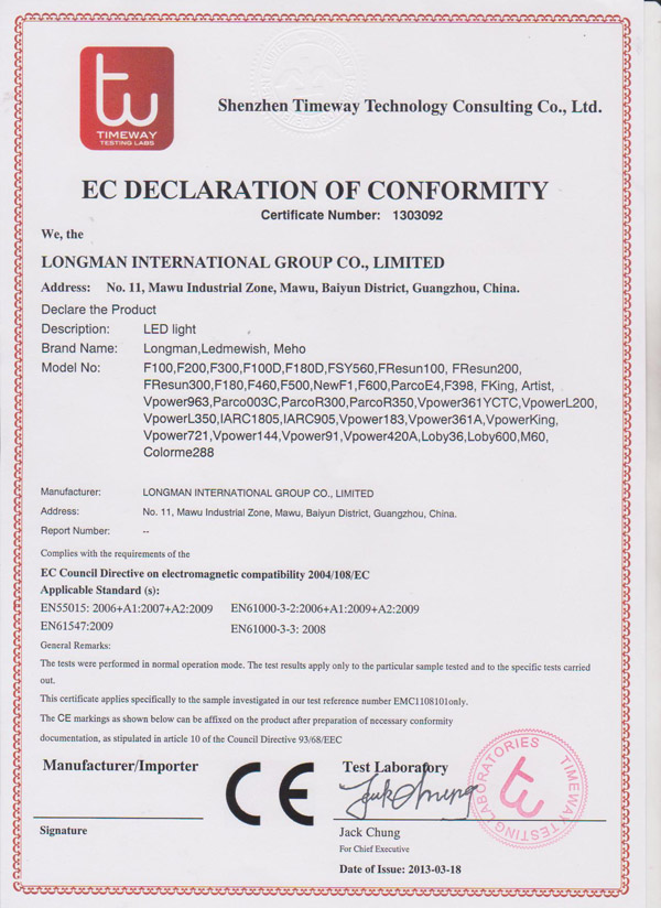 EC declaration of conformity certificate number 1303092