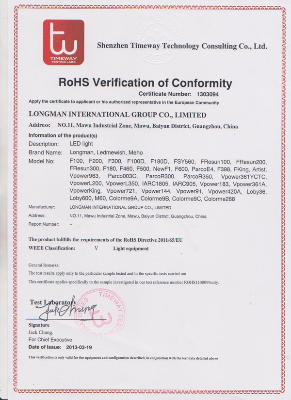 RoHS verification of conformity certificate number 1303094
