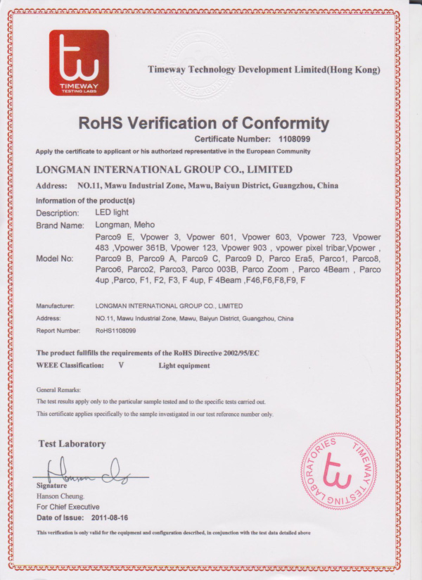 RoHS verification of conformity certificate number 1108099